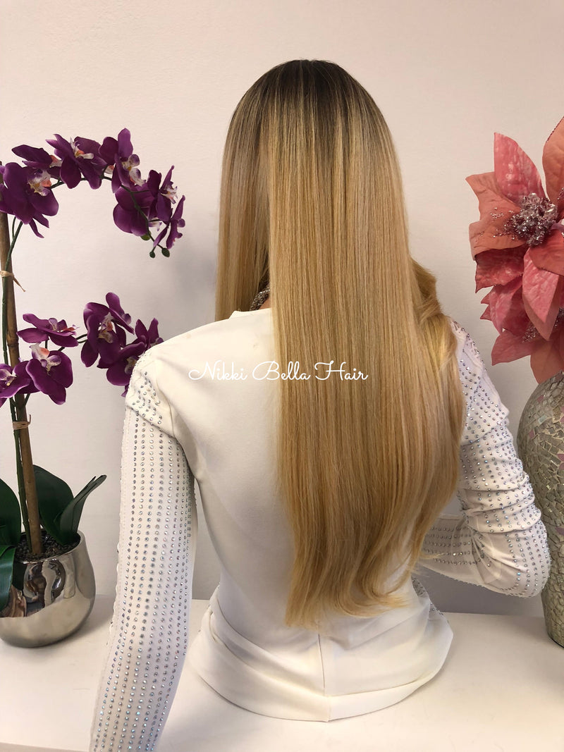 Blond Ombre Highlights Swiss Lace Front Wig 24 Inches 1018