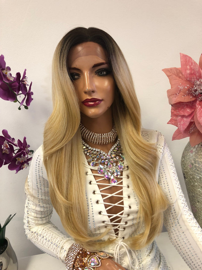 Blond Ombre Highlights Swiss Lace Front Wig 24 Inches | Deep Parting | Volume Layered Hair | Living My Best Life 1018 52