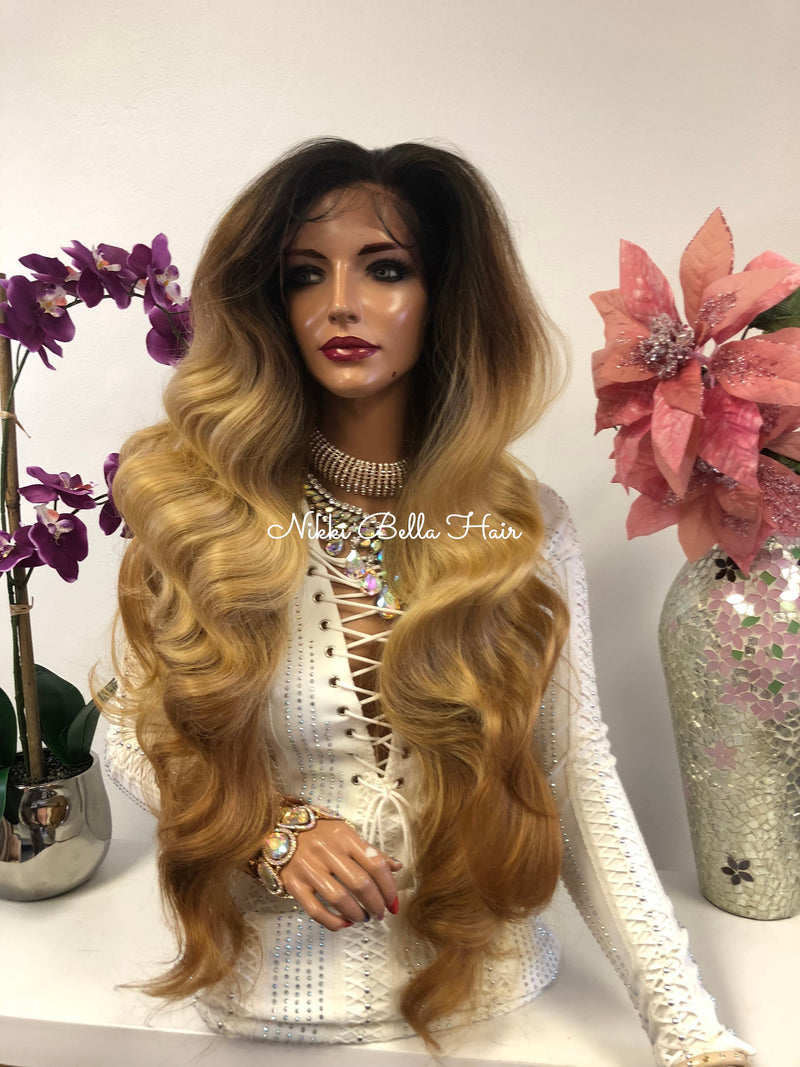 Brown Blond Brunette Balayage Ombre Swiss Lace Front Wig 30 Inches | 360' Deep MULTI Parting | Volume Curls Layered Hair | Parker 1018 50***