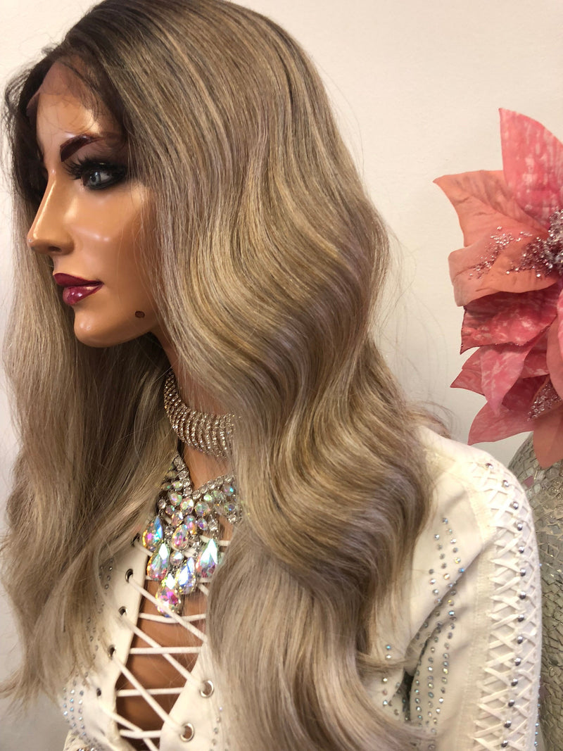 Blond Balayage Swiss Lace Front Wig 14 Inches | Deep Parting | Volume Waves Layered Hair | Melissa 1018 30