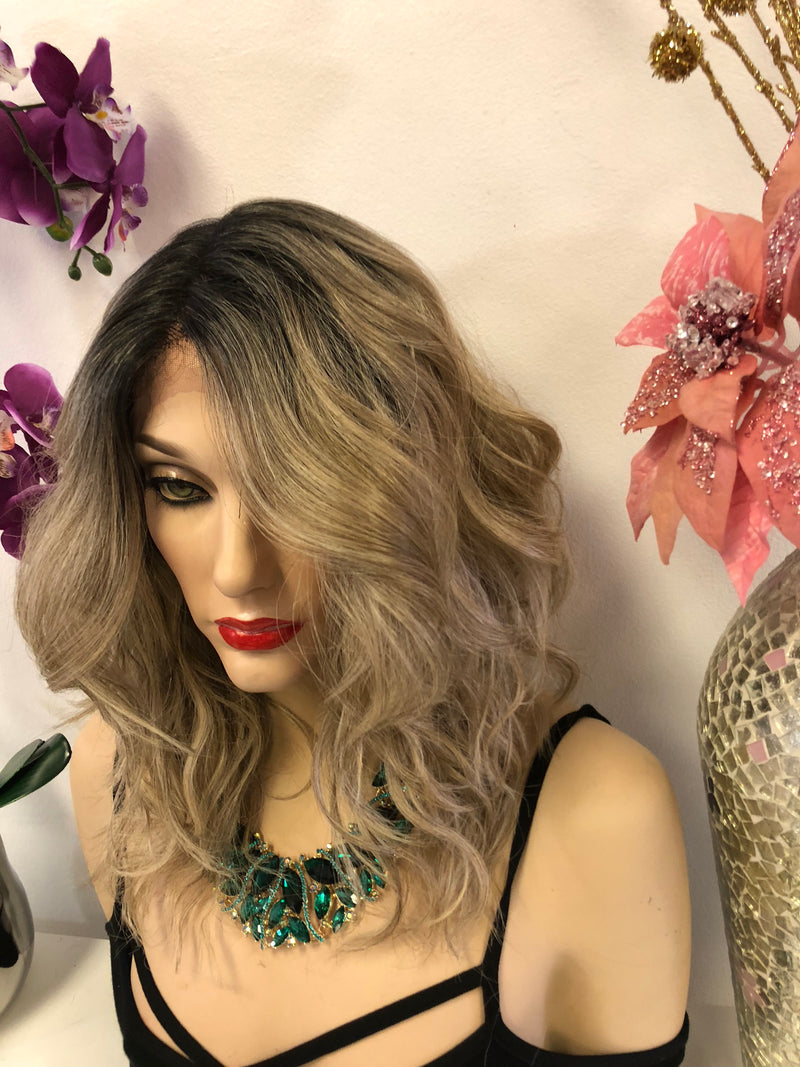 Blond Balayage Swiss Lace Front Wig 14 Inches | Deep Parting | Volume Waves Layered Hair | Butlet  1018 23