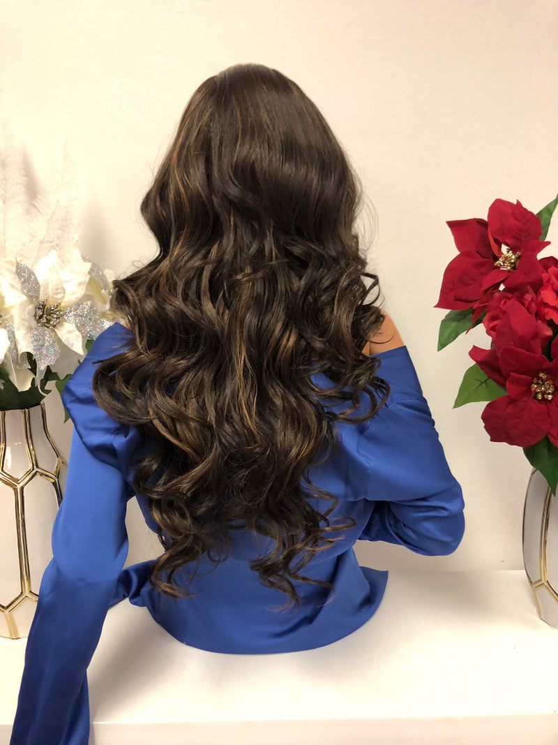 "Brown Highlights Lace Wig 22"" 1218"