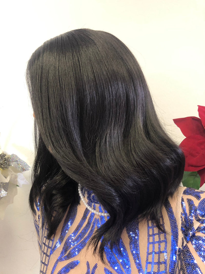 Black Lace Front Wig 12 Inches Soft Layered Hair 1218 33