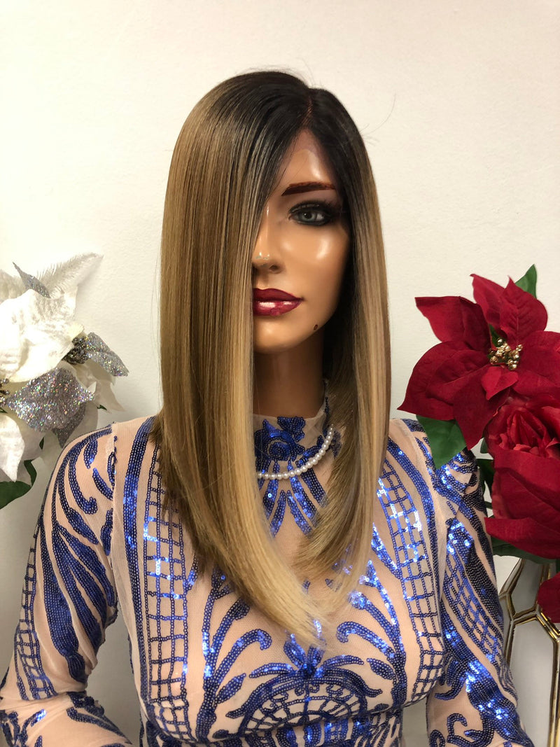 Blond Balayage Ombre Swiss Front Lace Wig | 12 inch Onika 1218 26
