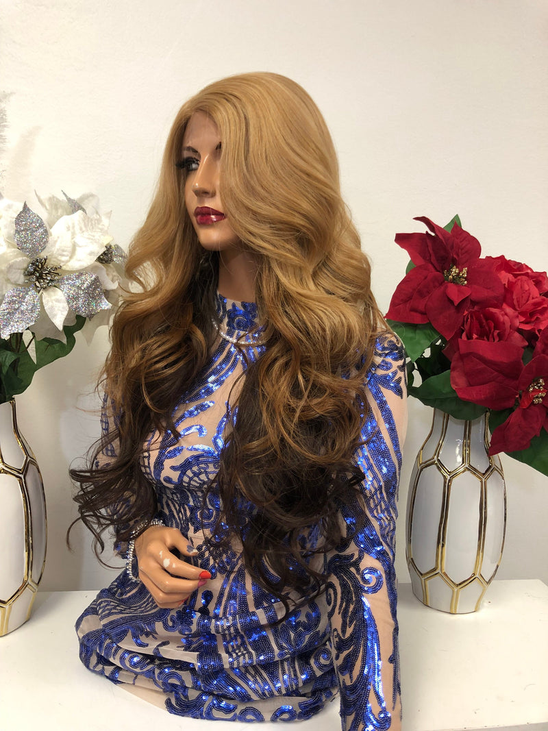 "Blond Brown Ombre Swiss Front Lace Wig 26""  VVS Star 1218 37"