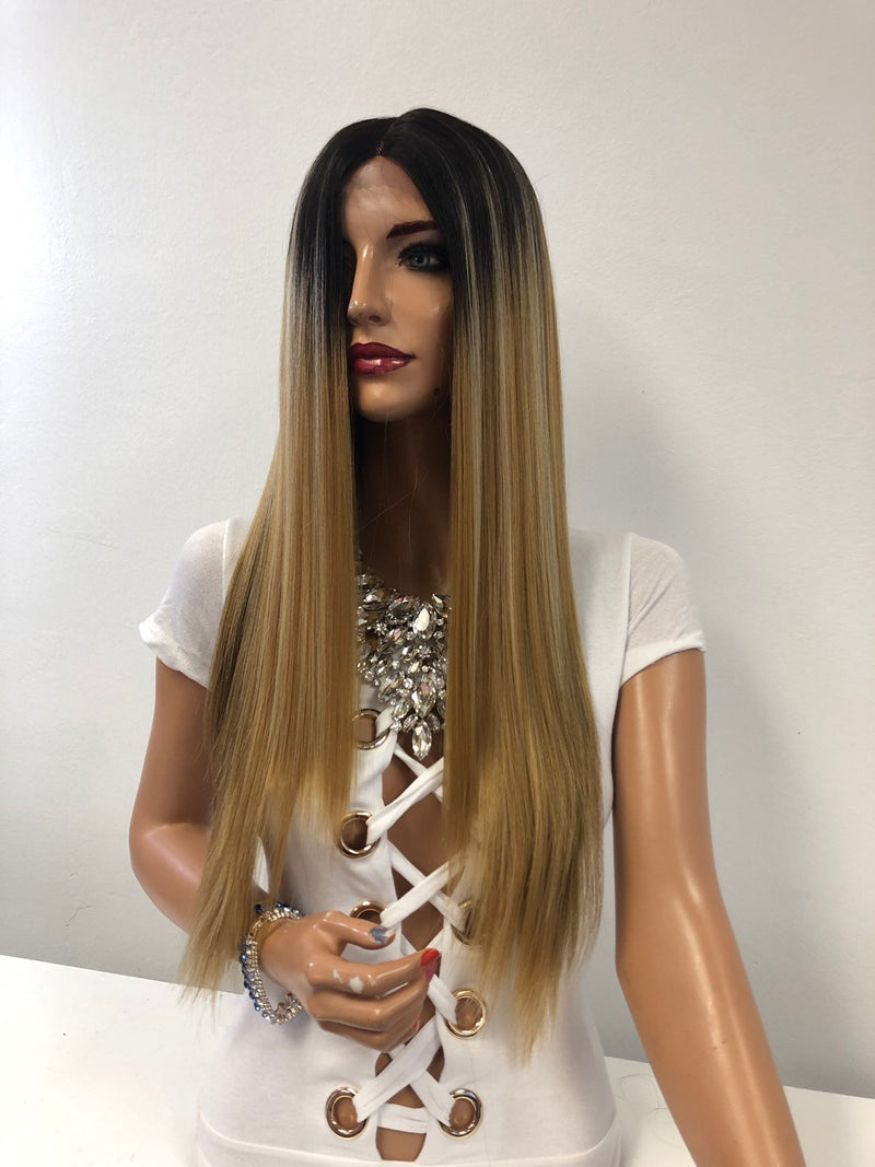 "Blonde Brown Brunette Swiss Lace Front Wig 22"" Inner Peace 1218"