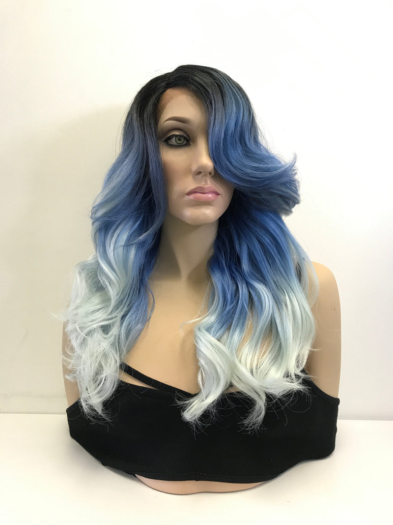 Blue Ombre Loose Curls Lace Front Wig 14""