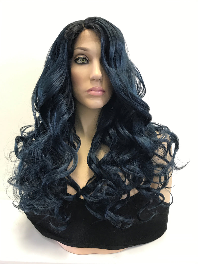 Blue Ombre Loose Curls Lace Front Wig 22""