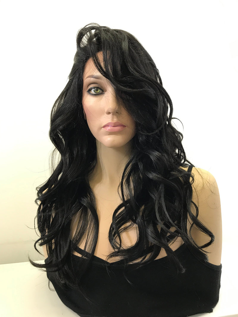 "Black Curls Hair Lace Front Wig 14"" Multi Styling + 4x4 Parting"