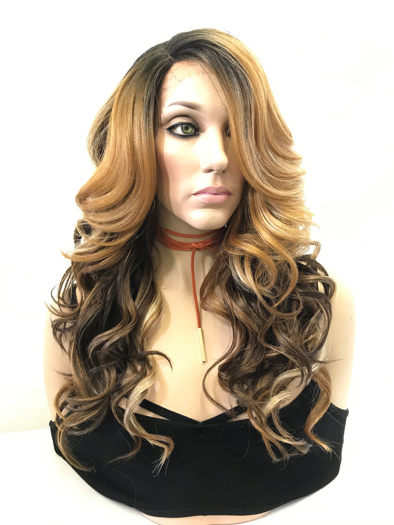 "Brown Blonde Balayage Loose Curls Hair Lace Front Wig 18"" First Lady"