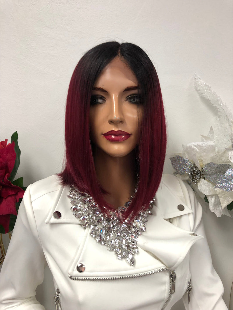 "Red Black Middle Part Bob Short Hair Lace Front Wig 8"" Jasmine 1218 56"
