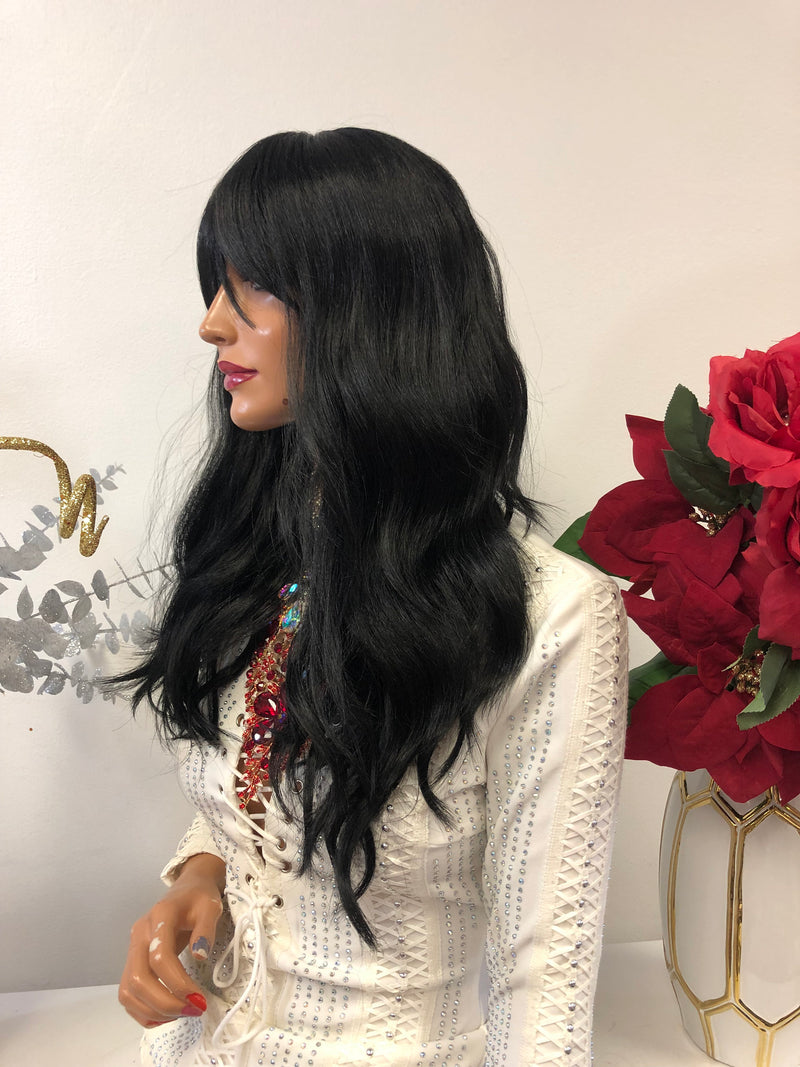 Black Bangs Wig 12 Inches Soft Layered Hair Change  1118 47