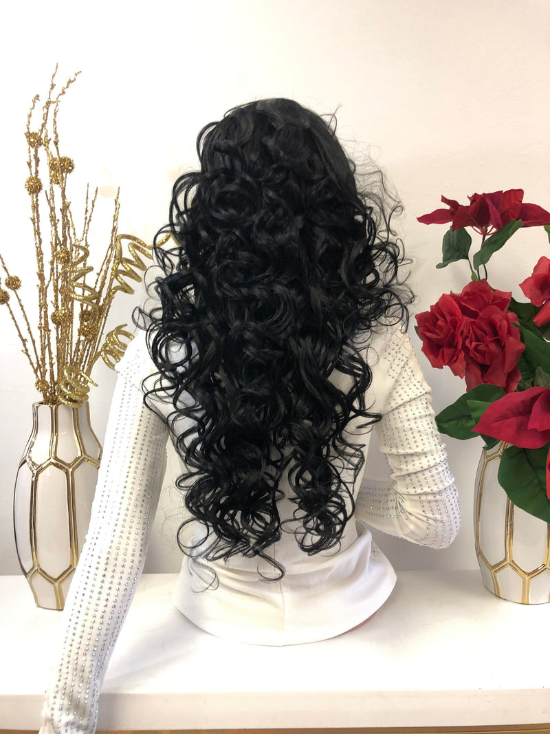 "Black Curls 13x4 Multi Parting Frontal SWISS Lace Wig | 22"" Merci  1118 43"