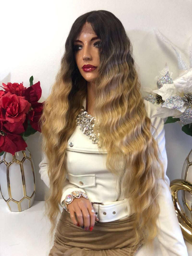 "Blonde Ombre Middle Part Volume Waves Lace Front Wig 26"" Brie 1218 59"