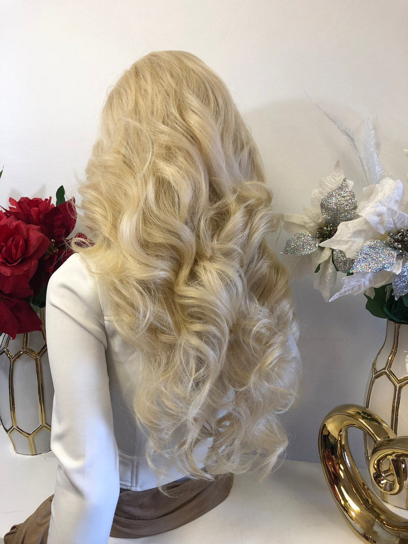 "Blonde Middle Part Volume Curls Lace Front Wig 22"" Samara 1218 58"