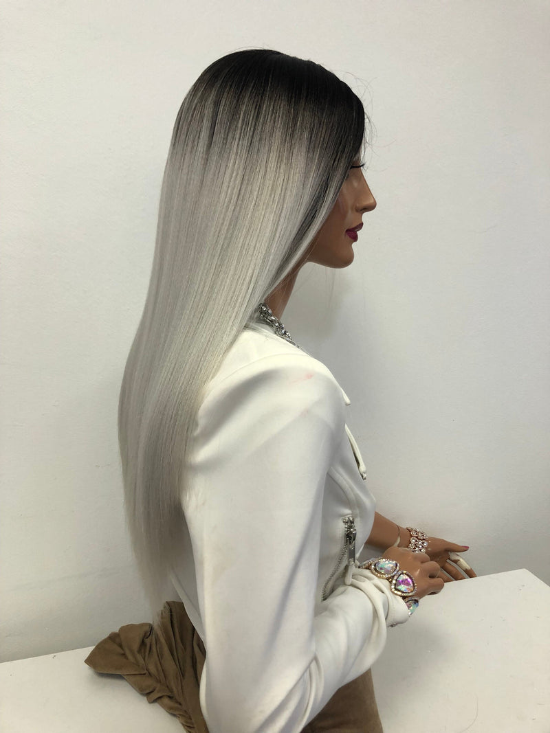 "Silver Gray Ombre Long Hair Lace Front Wig 18""  Spinx 1218 61"
