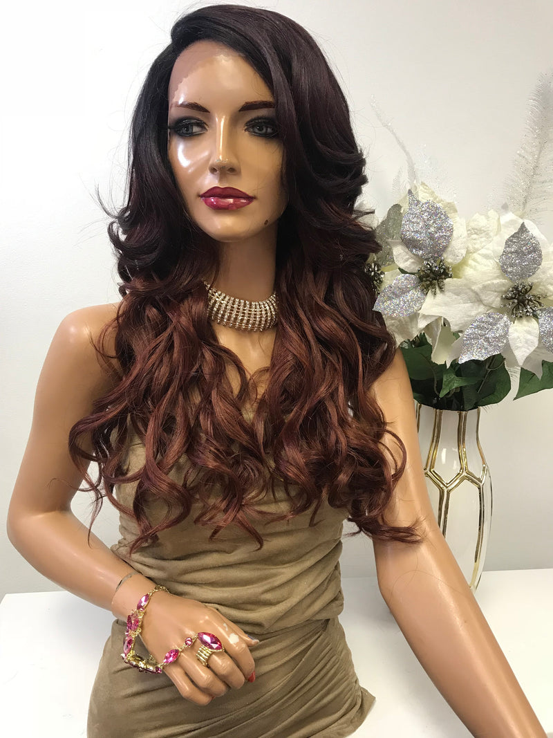 "Red Ombre Balayage Loose  Curl Hair Lace Front Wig 18"" Leah 0119 2"