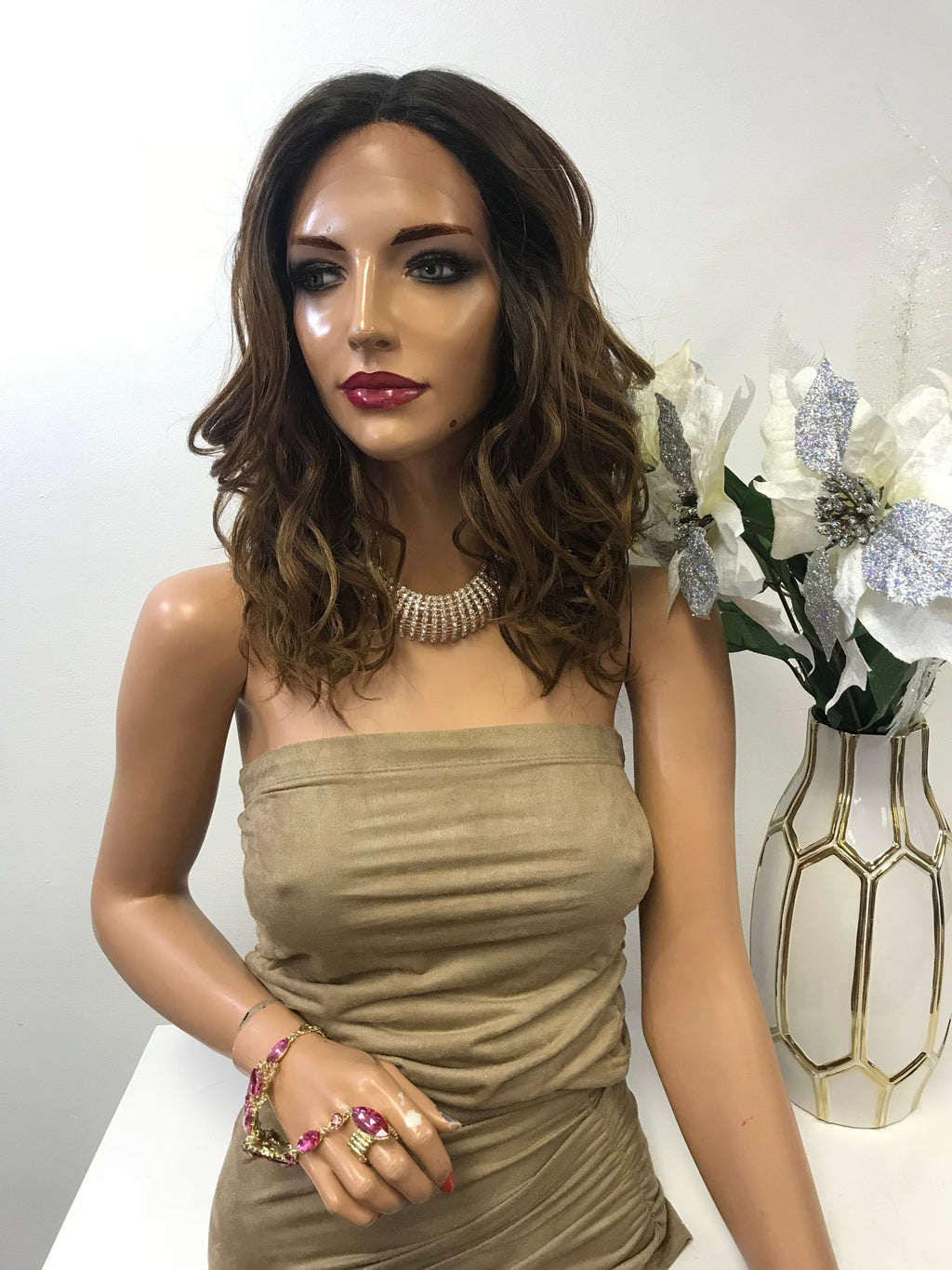 "Brown Ombre Balayage Loose Waves Hair Lace Front Wig 10"" Sarah 0119 4"