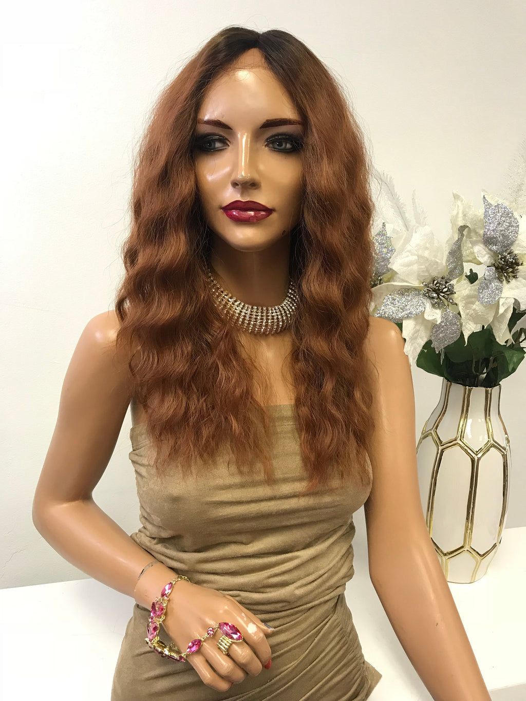 "Reddish Blonde Ombre Deep Waves Thick Hair Lace Front Wig 12"" Atarah  0119 8"