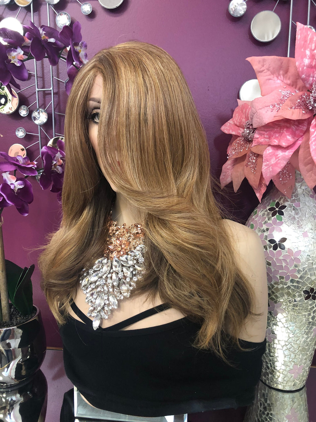 "Blonde Balayage Loose Curl Hair with Side Bangs Lace Front Wig 12-14"" Layered Bethany  0119 12"