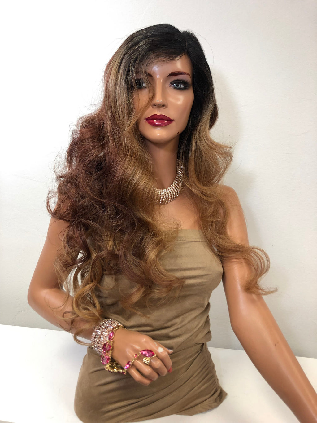"Brown Balayage Long Curly Hair Lace Front Wig 20""  Carmen 0119"