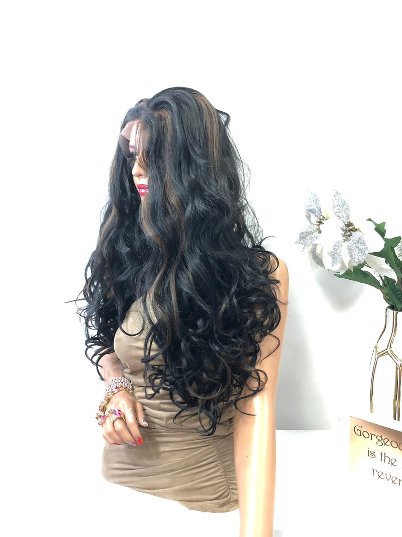 "Black Balayage Long Curly Hair FULL LACE Wig 24""  Sofia 0119"