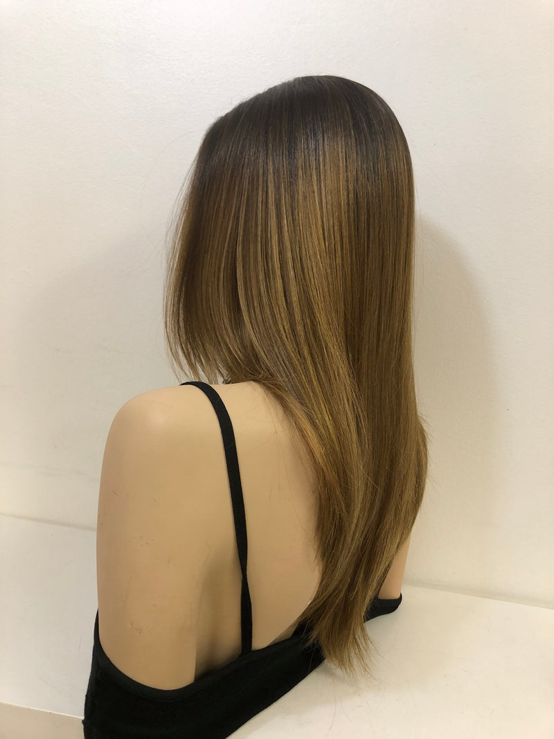 "Ombre Dark Blonde Straight Hair LACE Front Wig 14""  Estella 0119 28"