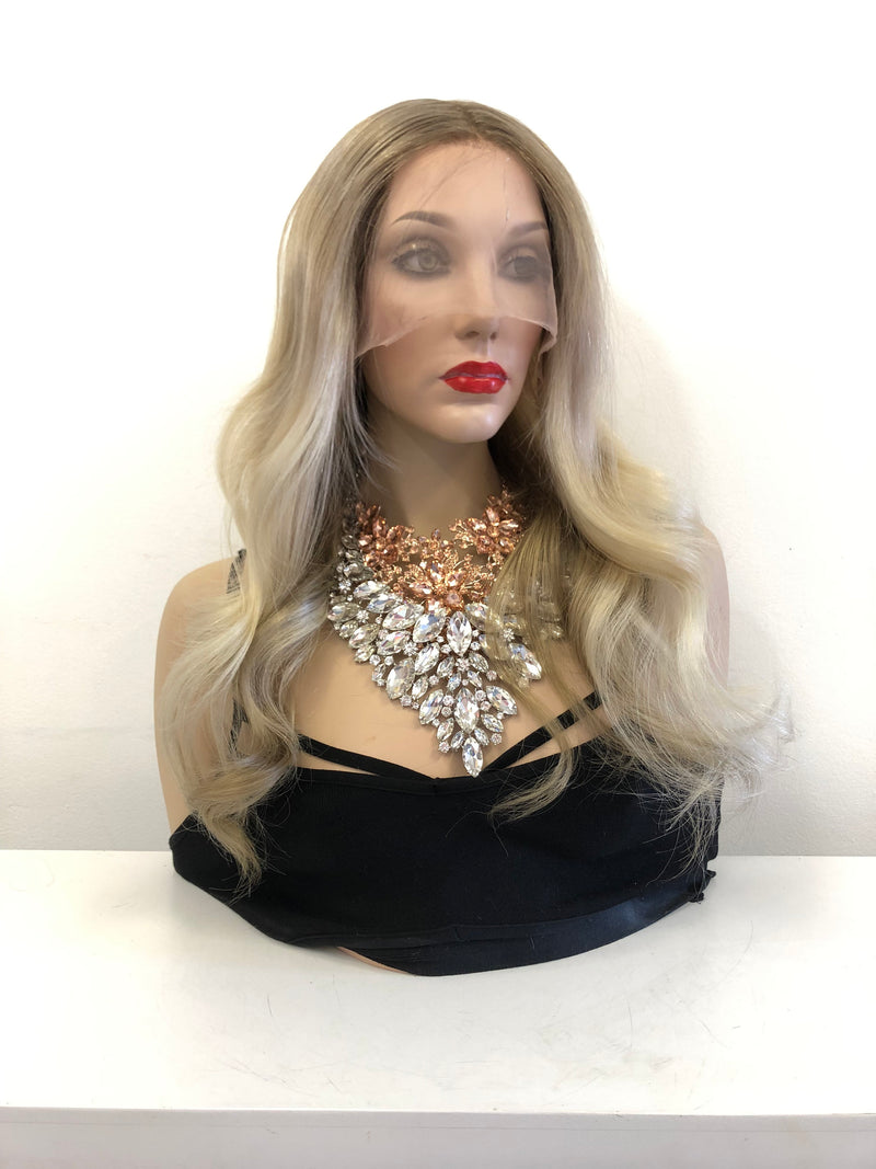 CUSTOM Dark Blond Balayage Ombre Root Full Lace Wig 18 inches CAMILA