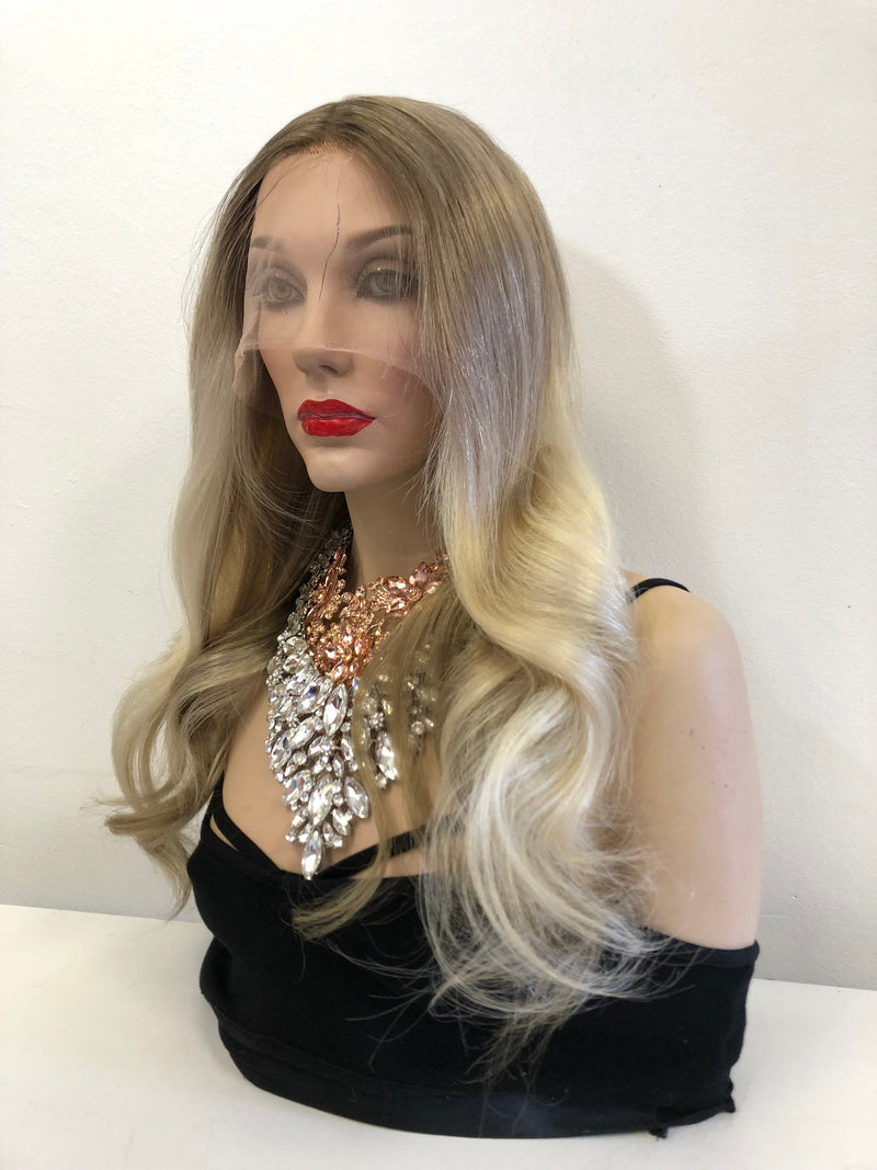 Dark Blond Balayage Ombre Root Full Lace Wig 18 inches CAMILA