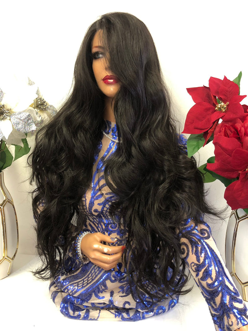 "Yana Long Black Lace Wig 32 "" 1218 11"