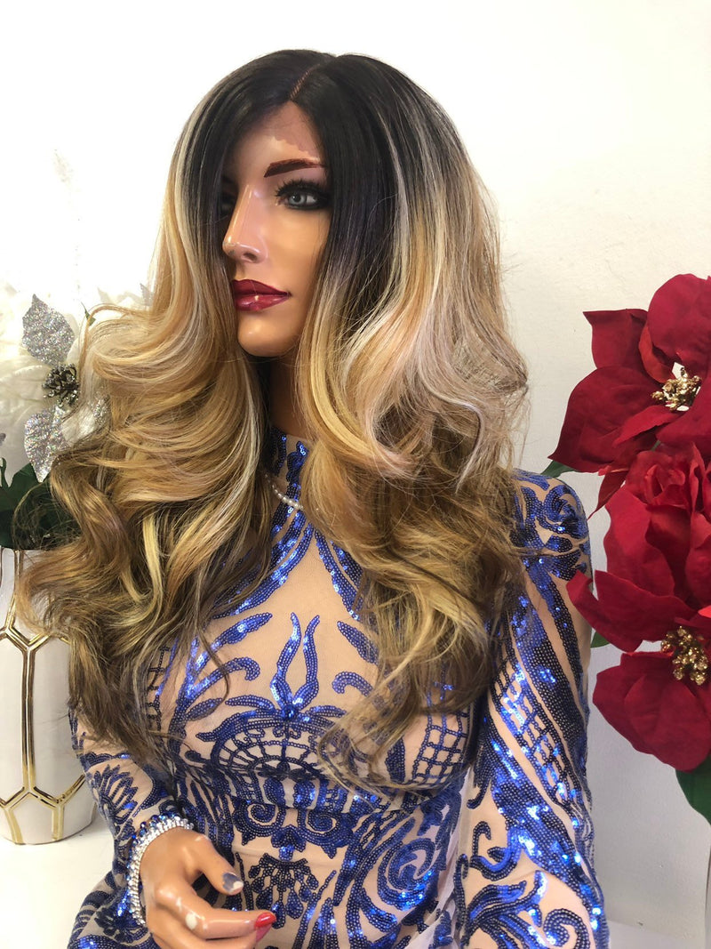 "Blond Balayage Ombre Swiss Front Lace Wig | 16"" Christine 1218 12"