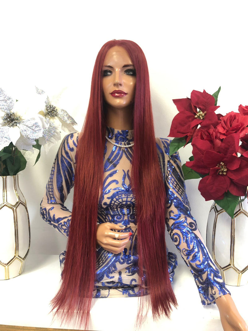 Red Multi Parting Frontal SWISS Lace Wig | 32