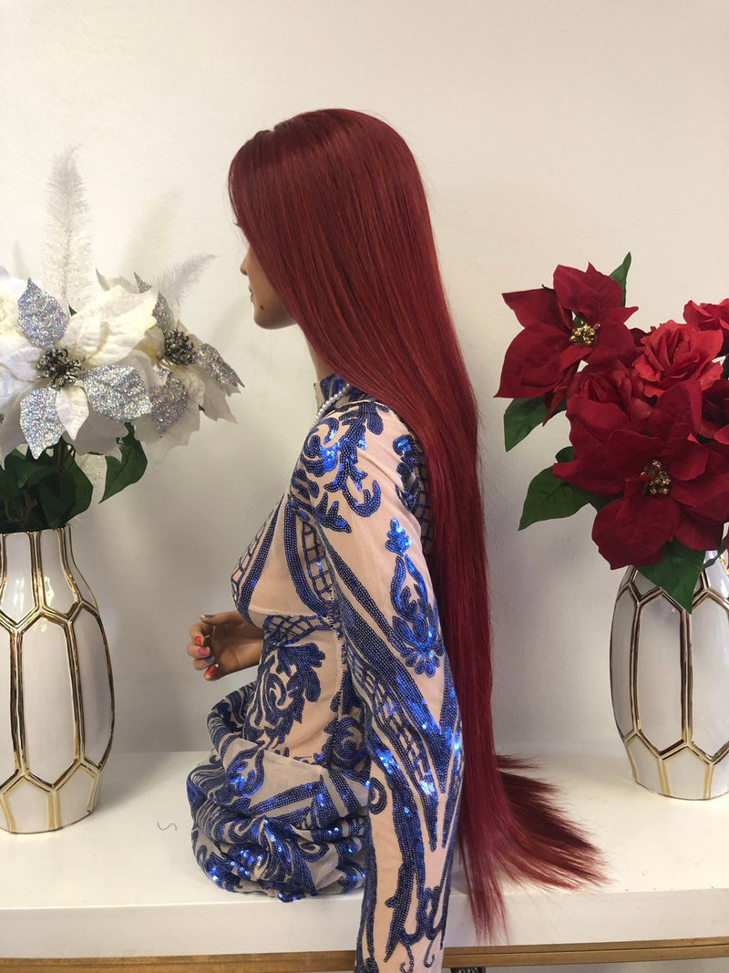"Red Multi Parting Frontal SWISS Lace Wig | 32"" Terra 1218 27"