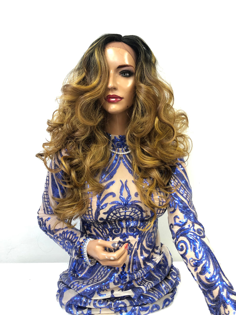 "Blond Swiss Front Lace Wig 22""  Luxury 1218 31"
