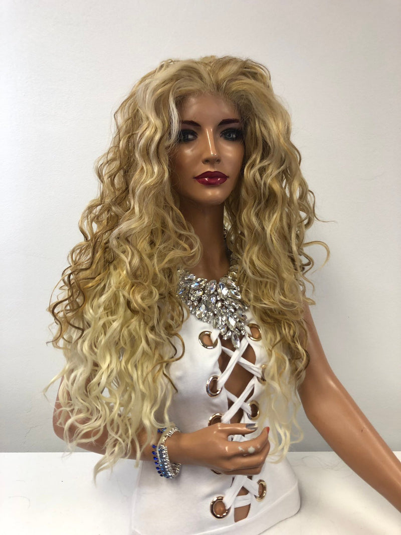 "Blond Balayage Ombre Swiss Lace Front Wig 26"" Beach Sunset 1218"