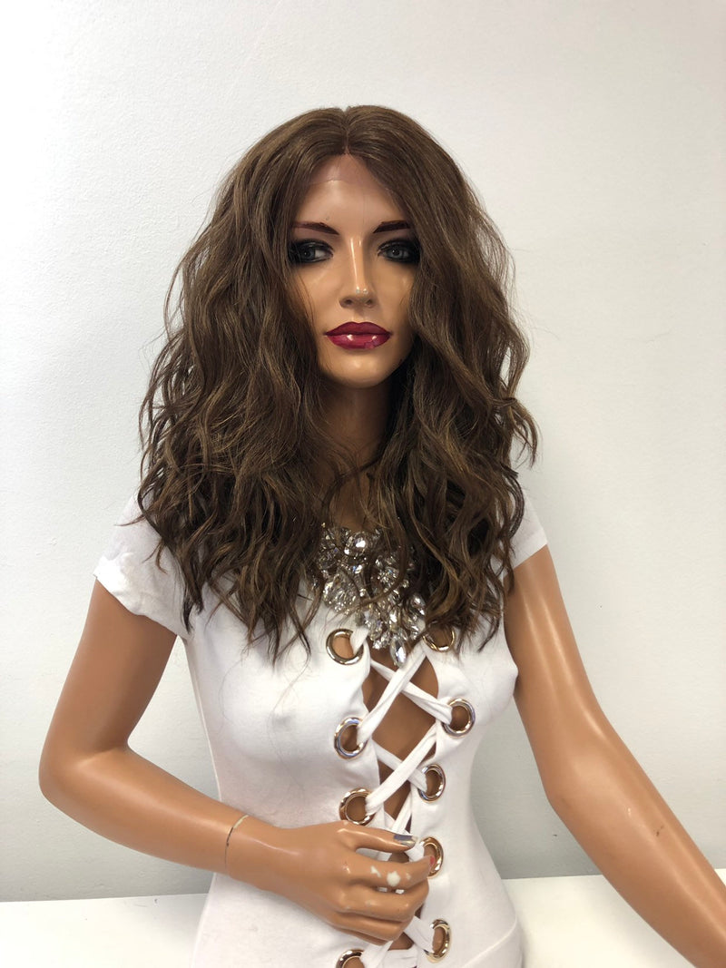 "Brown Blond Balayage Ombre Lace Front Wig 14"" Pearl 1218"