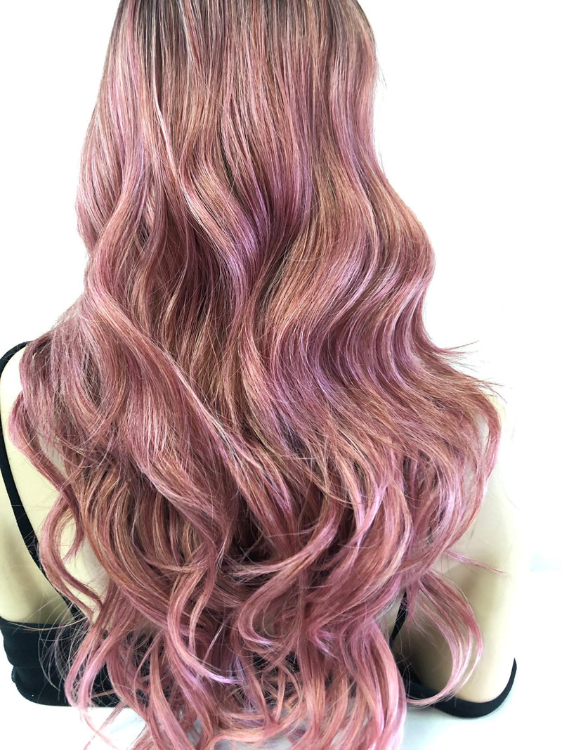 "Pink Ombré Swiss Lace Front Wig 22"" 0219 29"