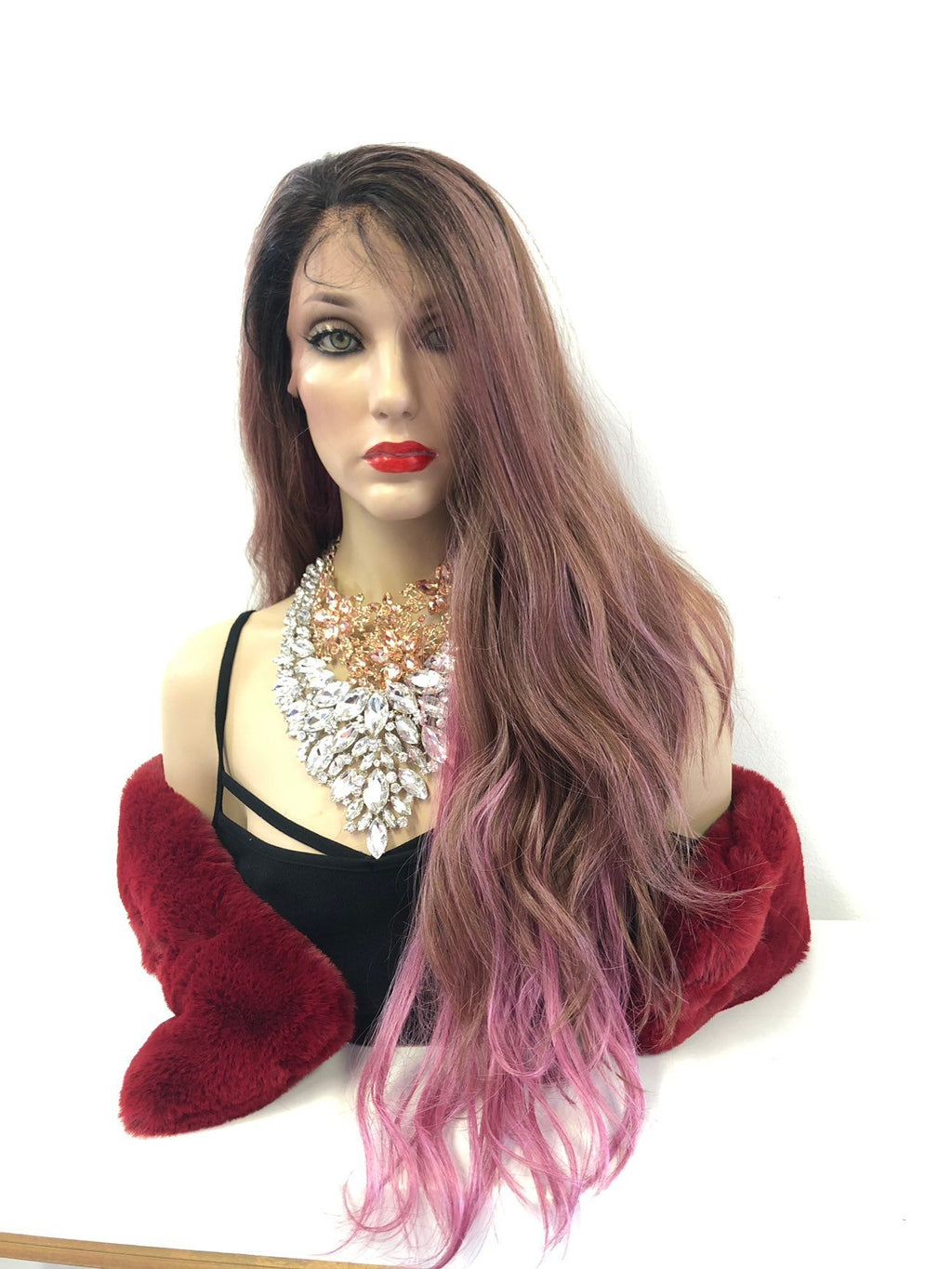 "Pink Ombré Swiss Lace Front Wig 26"" 0219 30"
