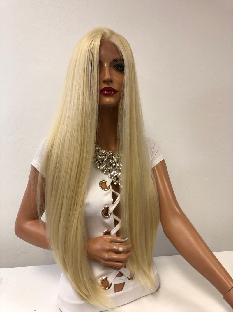 "Long Blond Swiss Lace Wig 28"" Cami 121843"