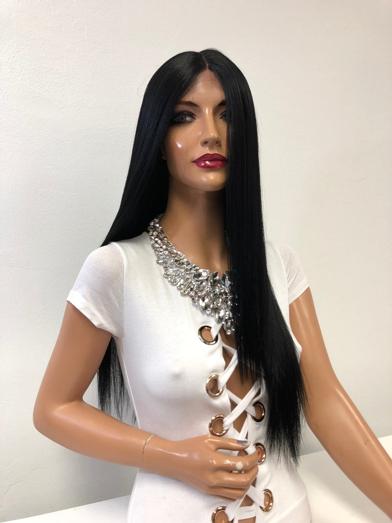 "Long Black Swiss Lace Wig 22"" Camille 1218 41"