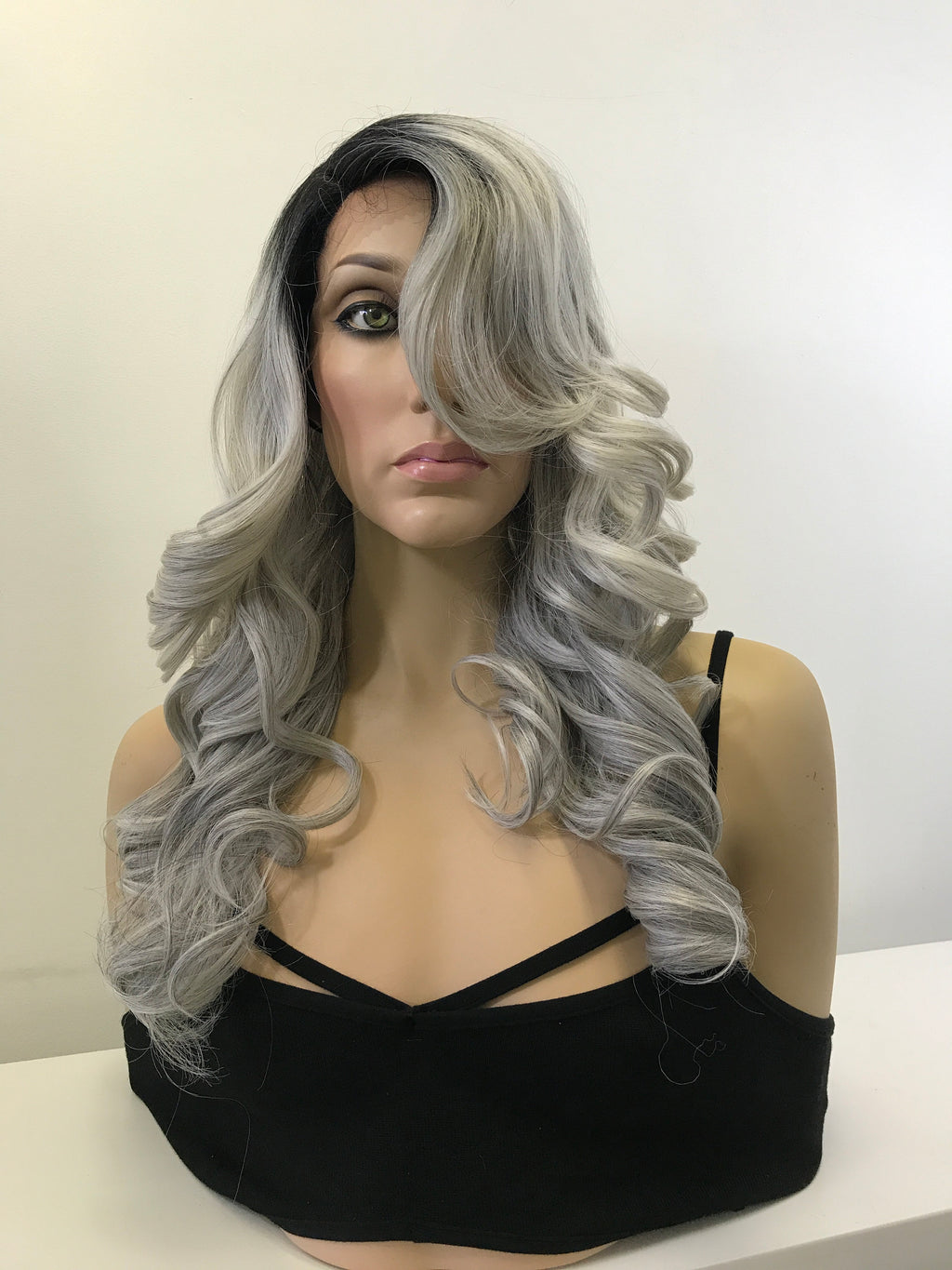 "Silver Gray Black Ombre Curls Hair Lace Front Wig 14"" Chrissy"