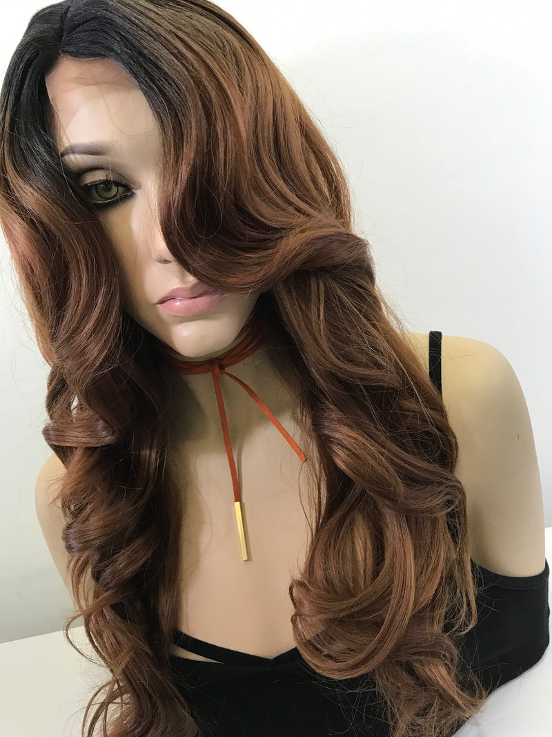 "Brunette Brown Black Ombre Loose Curls Hair Lace Front Wig 18"" Quinn"