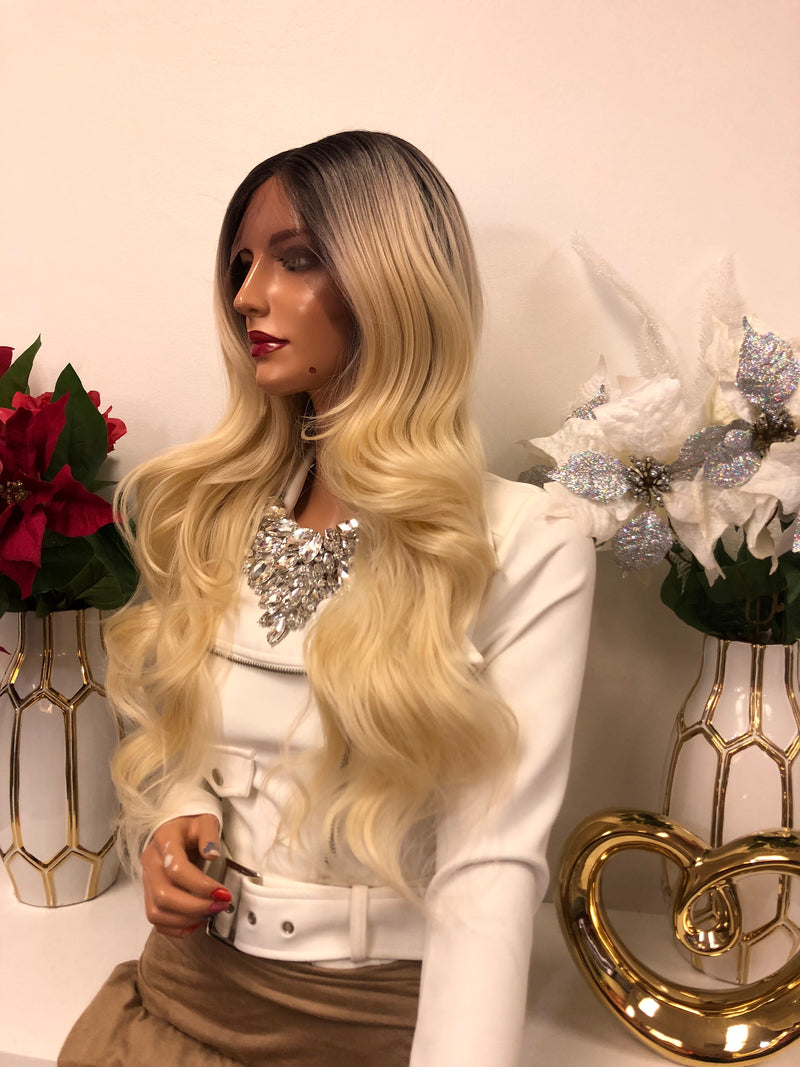 "Blonde Ombre Middle Part Volume Curls Lace Front Wig 22"" Alexa"