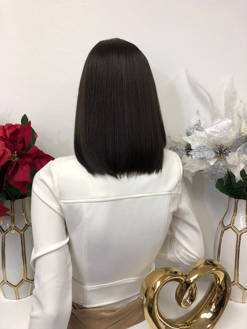 "Brown Sleek Middle Part Short Hair Lace Front Wig 8"" 1218 Angela"