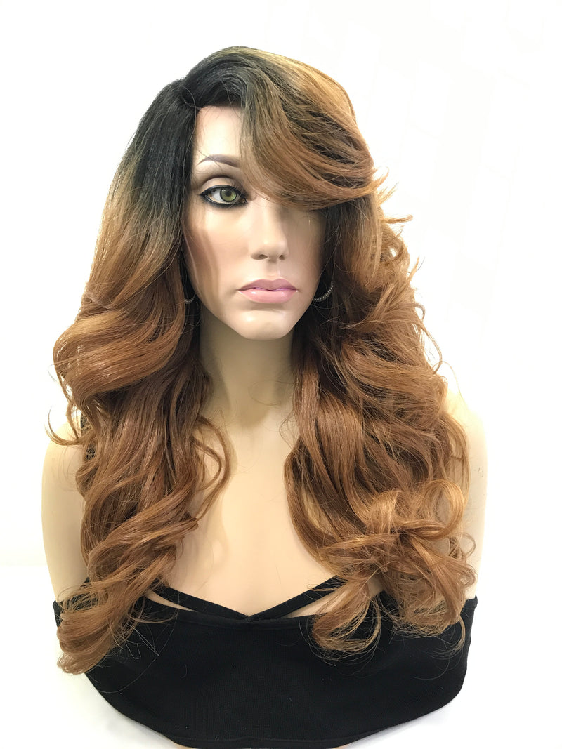 "Blonde Black Ombre' Loose Curls Side Bangs Hair Lace Front Wig 22"" Carlie"