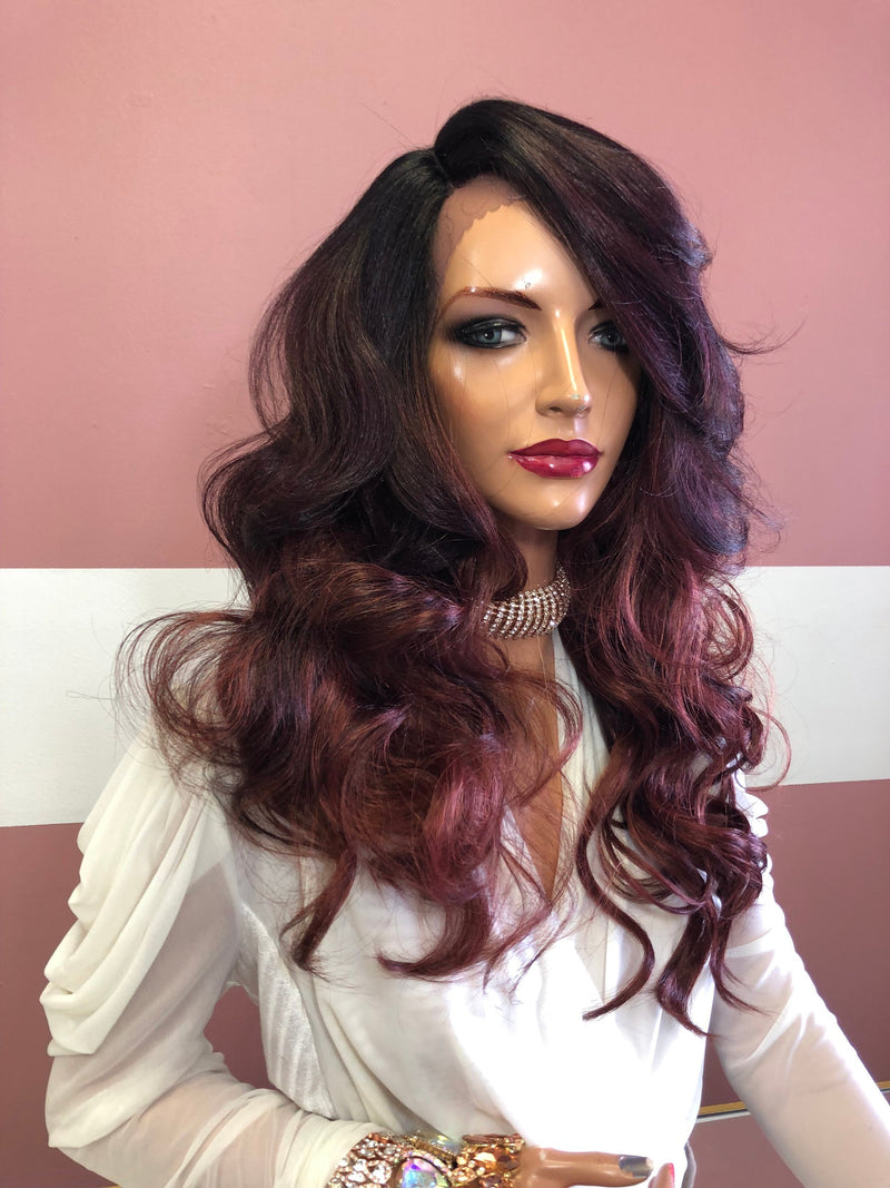 "Red Ombre Balayage Lace Front Wig 18"" 219 Selina"