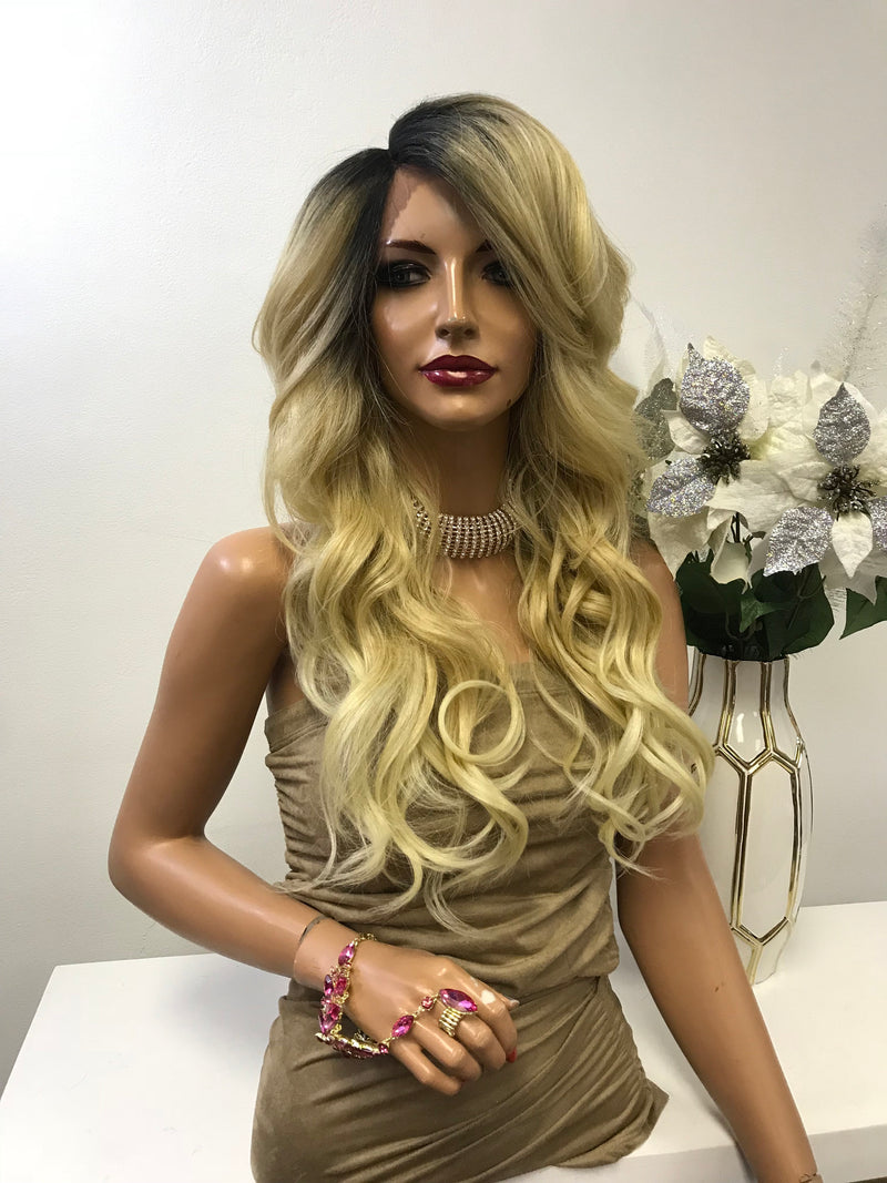 "Blond Ombre Balayage Loose Curl Hair Lace Front Wig 18"" Rachel 0119 3"