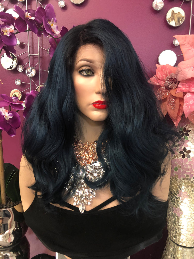 "Blue Ombre' Curly Hair Lace Front Wig 10-12"" Layered Adah  0119 10"