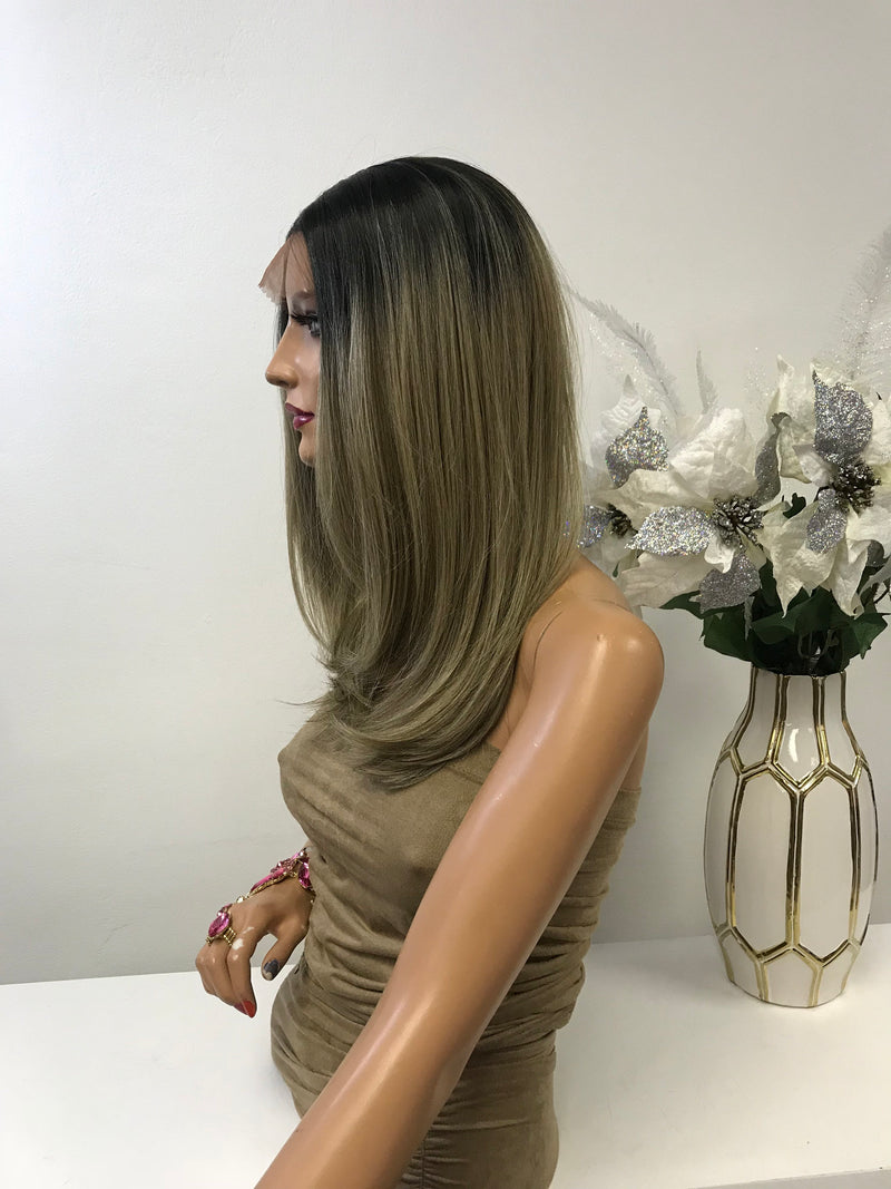 "Blonde Balayage Ombre' Straight Hair Lace Front Wig 12-14"" Layered Bernice  0119 11"