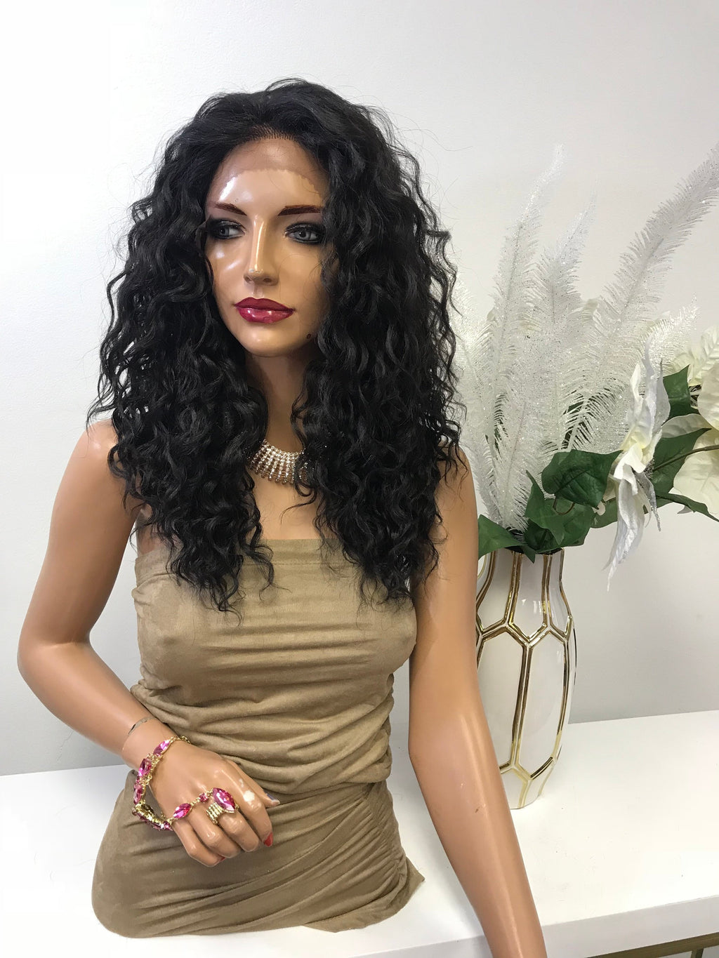 "Brown Deep Wave Hair with Middle Part Lace Front Wig 14"" Layered Charity  0119 22"